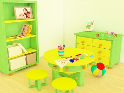 A vibrant entertainment room can keep the kids occupied and intrigued